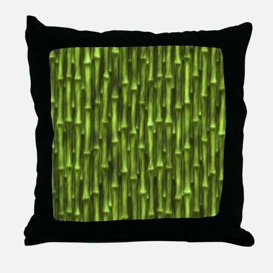 Green Bamboo Forest Throw Pillow