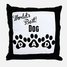 Worlds Best Dog Dad Throw Pillow