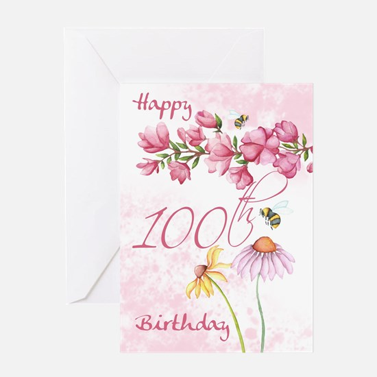 100th Birthday Watercolor Floral Greeting Cards
