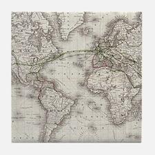 Vintage World Telegraph Lines Map (18 Tile Coaster