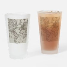 Vintage World Telegraph Lines Map ( Drinking Glass