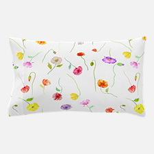Watercolor Poppy Pattern Pillow Case