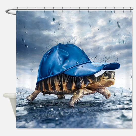 Turtle With Cap Shower Curtain