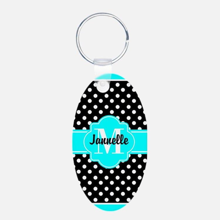 Aqua and Black Polka Dots C Keychains