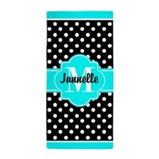 Aqua and Black Polka Dots Custom Monog Beach Towel