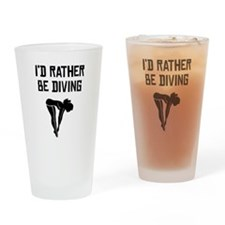 Id Rather Be Diving Drinking Glass