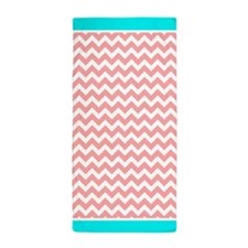 Coral Chevron Pattern Aqua Trim Beach Towel