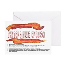 THE TOP 5 RULES OF BACON Greeting Card