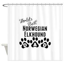 Worlds Best Norwegian Elkhound Dad Shower Curtain