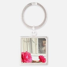 Tara's Rosey Window Square Keychain