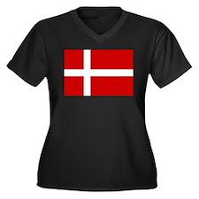 Danish Flag Women's Plus Size V-Neck Dark T-Shirt