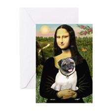 Mona's Fawn Pug Greeting Cards (Pk of 10)