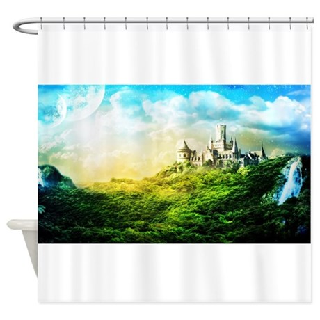 Fantasy castle shower curtain by wickeddesigns4 for Fantasy shower curtains