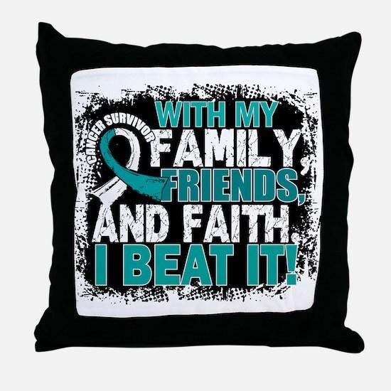 Cervical Cancer Survivor FamilyFriend Throw Pillow