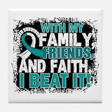 Cervical Cancer Survivor FamilyFriend Tile Coaster