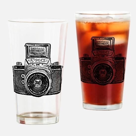 Vintage Camera - Black Drinking Glass