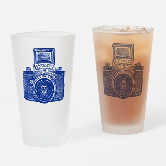 Vintage Camera - Navy Blue Drinking Glass