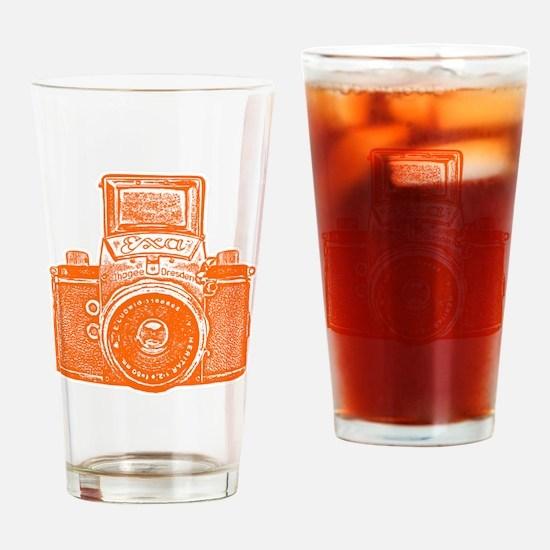 Vintage Camera - Orange Drinking Glass