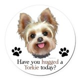 Yorkie dog Round Car Magnets