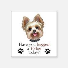"Yorkie Hug Square Sticker 3"" x 3"""
