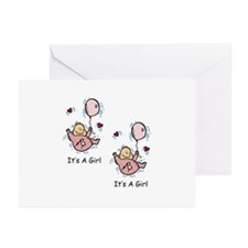 Twin Girl Baby Announcement Greeting Cards (Pk of