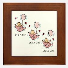 Triplet Girl Announcement Framed Tile