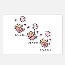 Triplet Girl Announcement Postcards (Package of 8)