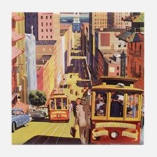 Vintage Travel Poster San Francisco Tile Coaster