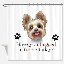 Yorkie Hug Shower Curtain