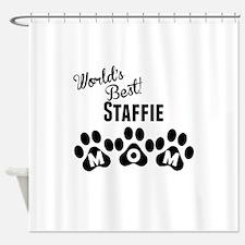Worlds Best Staffie Mom Shower Curtain