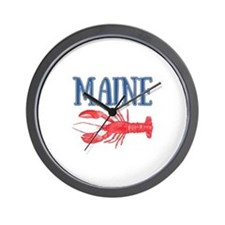 Maine Watercolor Lobster Wall Clock