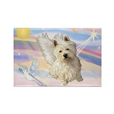 Westie Angel in Clouds Rectangle Magnet