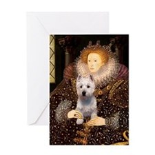Queen Liz & Her Westie Greeting Card