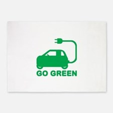 Go Green ~ Drive Electric Cars 5'x7'Area Rug