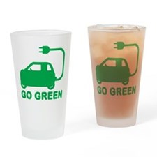 Go Green ~ Drive Electric Cars Drinking Glass