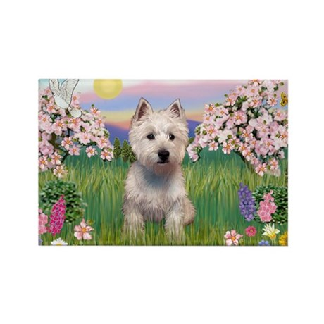 Blossoms & West Highland Rectangle Magnet