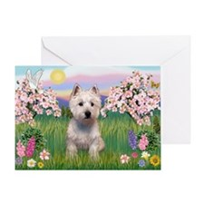 Blossoms & West Highland Greeting Card