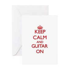 Keep Calm and Guitar ON Greeting Cards