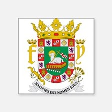 """Cute Puerto rica coat of arms Square Sticker 3"""" x 3"""""""