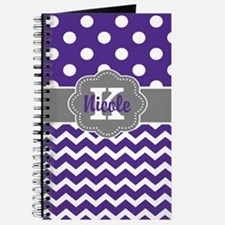 Purple Gray Dots Chevron Personalized Journal