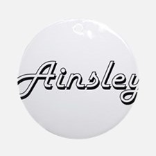 Ainsley Classic Retro Name Design Ornament (Round)