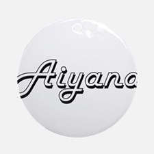 Aiyana Classic Retro Name Design Ornament (Round)