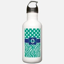 Teal Blue Dots Zebra Personalized Water Bottle