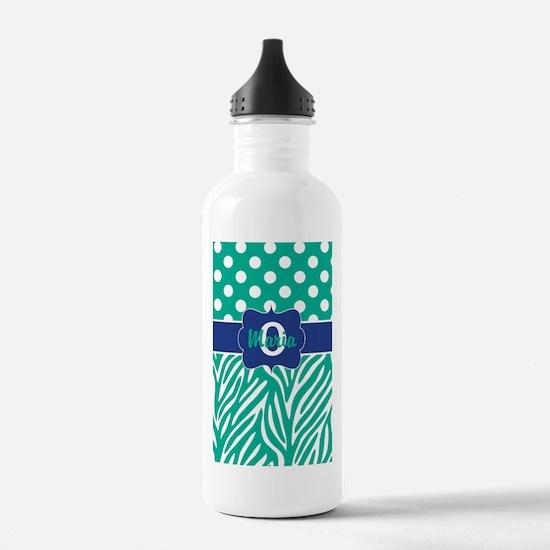 Teal Blue Dots Zebra Personalized Water Bottle