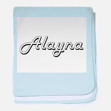 Alayna Classic Retro Name Design baby blanket
