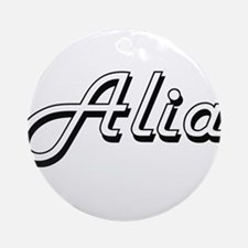 Alia Classic Retro Name Design Ornament (Round)