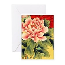 Chinese Brush Painting - Peon Greeting Cards (Pack