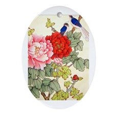 Chinese Water Color Painting Oval Ornament