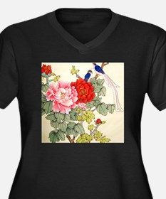 Chinese Water Color Painting Women's Plus Size V-