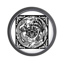 Chinese Dragon & Phoenix Symb Wall Clock